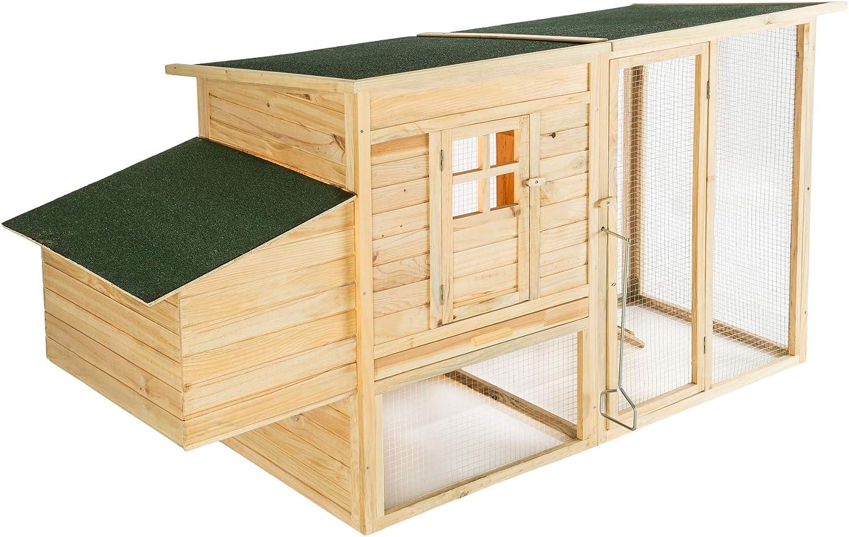 TecTake 403228 - Gallinero para gallinero de Madera, con caseta y cajón de excremento, Espacioso Parque sin Fondo, Techo con Revestimiento Resistente: Amazon.es: Productos para mascotas