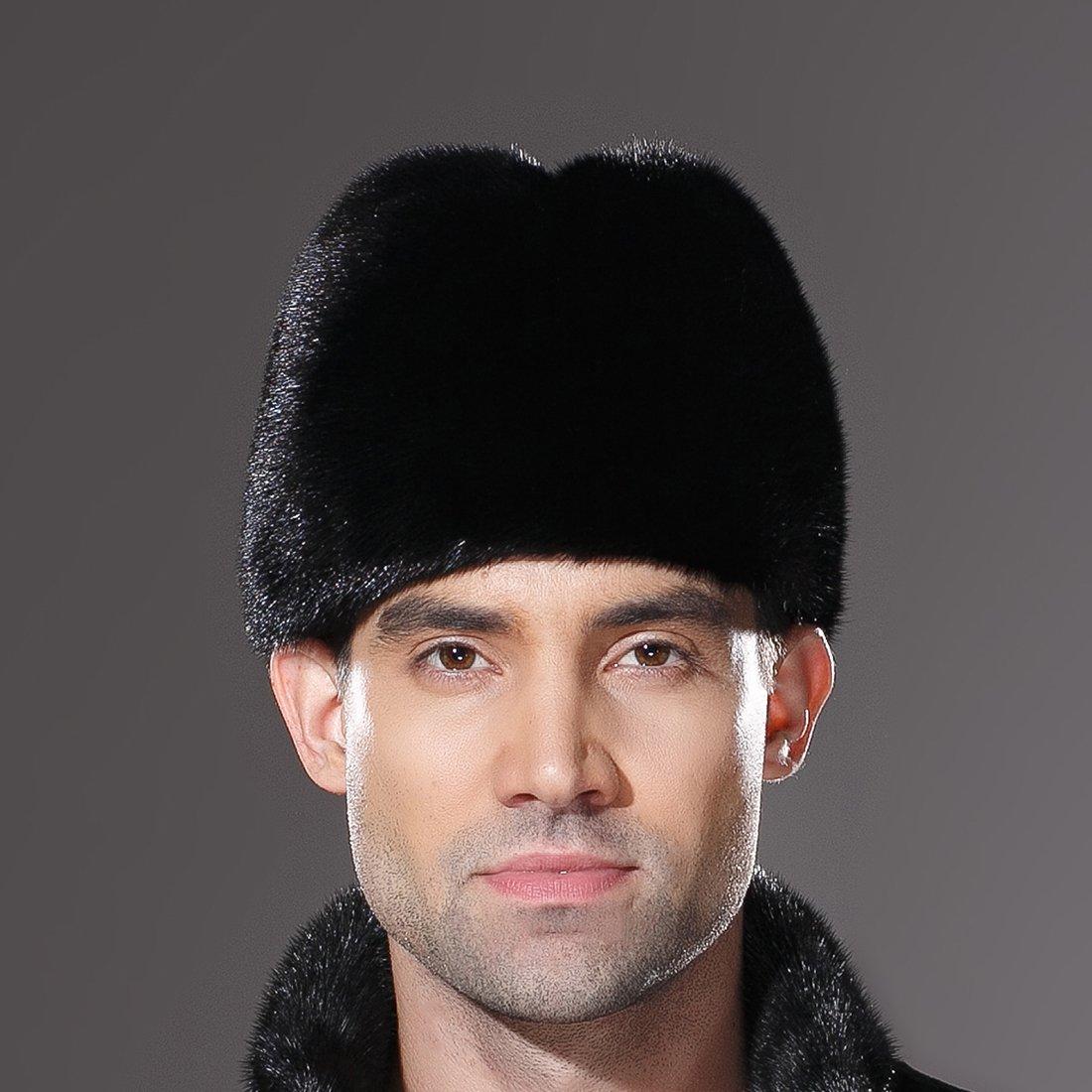 URSFUR Mens Winter Russian Cossack Hat Real Mink Fur Cap Black by URSFUR (Image #8)