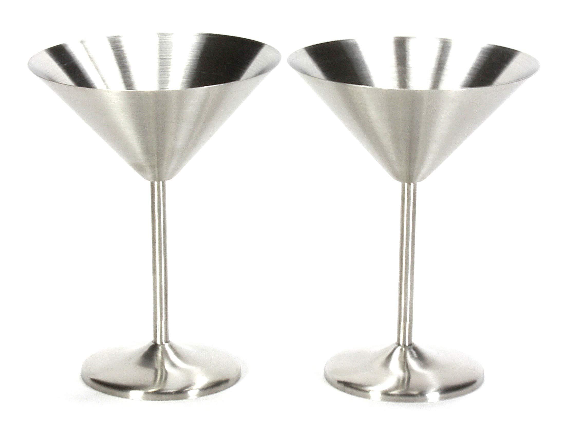 Trendiware Stemmed Martini Cocktail Glasses 7 oz. (Stainless Steel, 2)