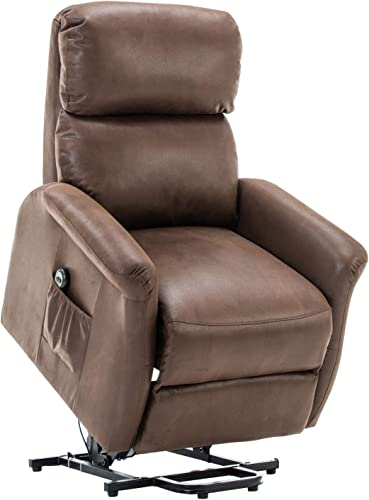 UPSCALE DECOR Lift Chair,Electric Power Recliner with Remote Control for Elderly,Heavy Duty and Soft Fabric Sofa for Living Room,3 Position, Brown