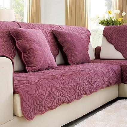 Amazon.com: Plush sofa slipcover,Fabric anti-slip sofa slipcovers ...