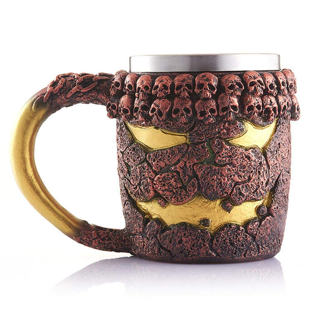 3D Dragon Viking Mug Tankard Stainless Steel Skull Resin Coffee Cup Travel Tea Wine Beer Mugs Drinking Cup Gifts for Men Father's Day Christmas Halloween (A) Buyeverything