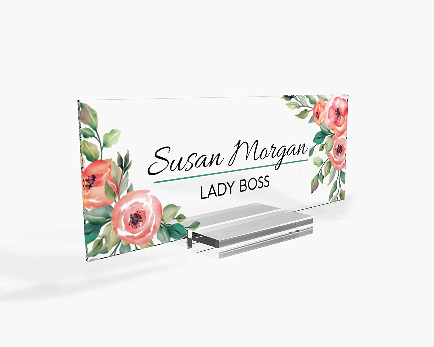 "Personalized Desk Name Plate for Office Sign Modern Office Women Decor Home Desk Name Plate Teacher Desk Name Sign Holder Rose Floral Flowers - (8""x3"")"