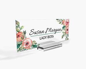 "Personalized Desk Name Plate for Office Sign Modern Office Women Decor Home Desk Name Plate Teacher Desk Name Sign Holder Rose Floral Flowers - (8""x3"")"
