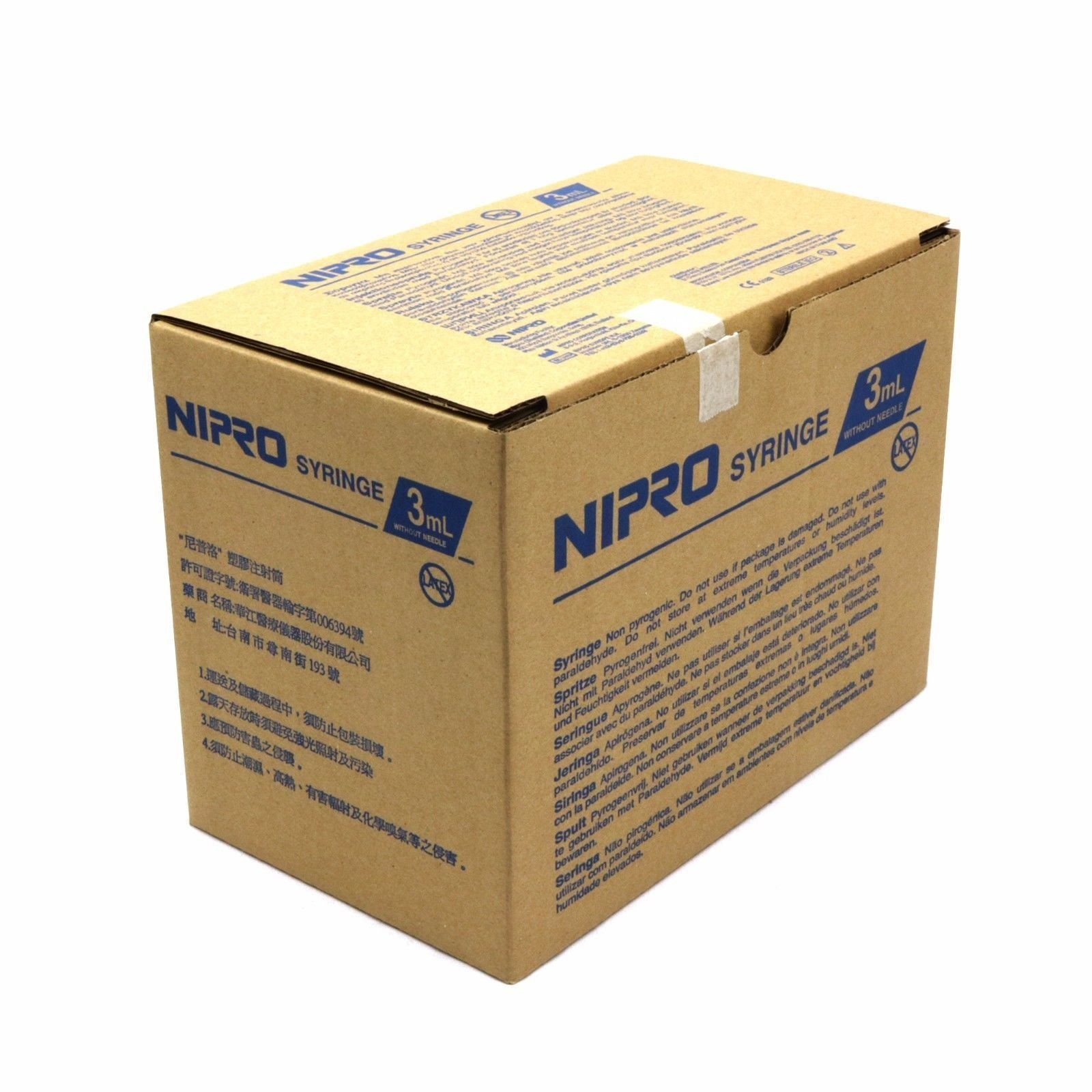 Nipro 3CC Luer Lock 3 Milliliter Syringes Without Needle 100 Box
