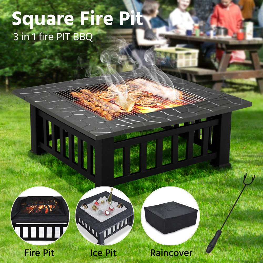 CitySales 3 in 1 Large Square Log Burner Fire Pit Outdoor Garden Patio Heater BBQ Firepit Fireplace Ice Bucket