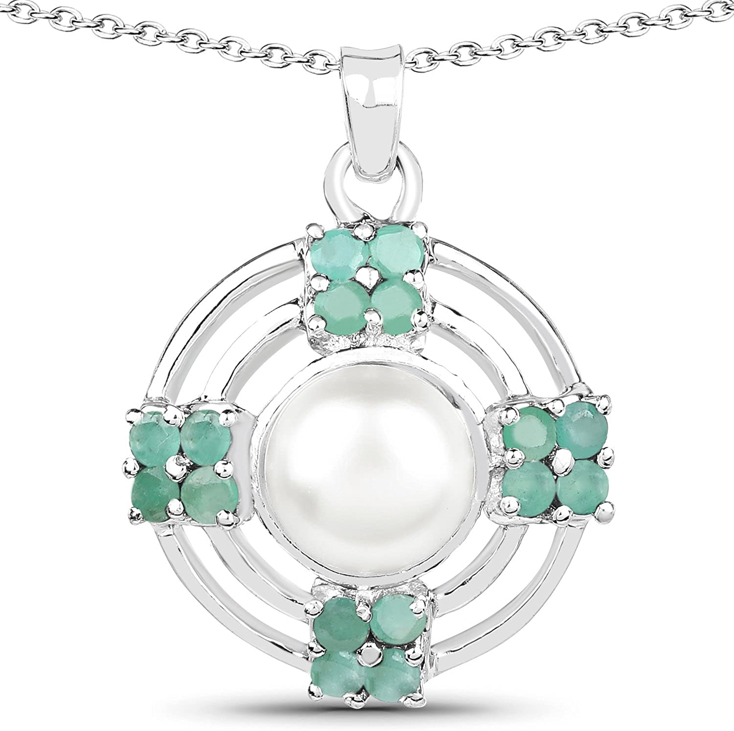 FB Jewels 3.98 Carat Genuine Pearl and Emerald 925 Sterling Silver Pendant Length 1.02 Inches