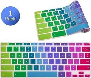 "Keyboard Protector Skin for HP 14"" Chromebook 14-ca 14-ak 14-db/HP Chromebook 14 G2 G3 G4 G5 / HP 11.6"" Chromebook x360 /HP Chromebook 11 G2, G3, G4, G5, G6 EE Series, Rainbow"
