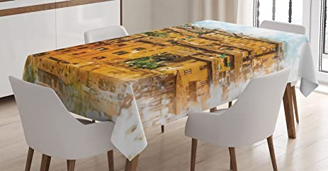 Delightful Tuscan Decor Tablecloth By Ambesonne, Faded Photo Of Historical Italian  Town With Old Traditional Authentic