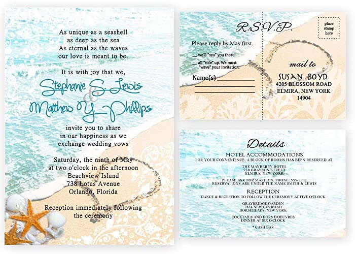 Beach Wedding Invitations And Response Cards Set Of Amazon Com