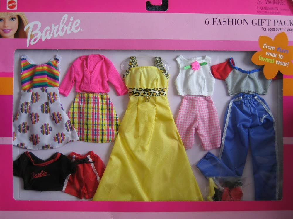 Barbie 6 Fashion Gift Pack From Fun Wear To Formal Wear! (1999) by ...