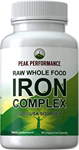 Raw Whole Food Iron Complex Vegan Supplement for Women and Men. Best USA Sourced Iron + Vitamins C, B12, and 25+ Organic Vegetables and Fruits for Max Absorption. Non Constipating Capsules. 30 Pills