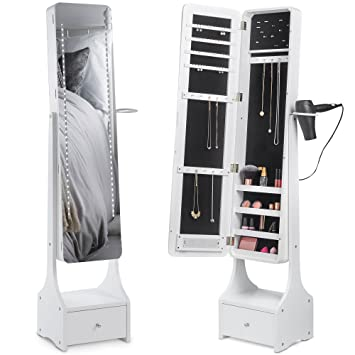 Ordinaire Beautify Touch Screen LED Jewelry Cabinet Armoire Illuminating Mirrored  Light Standing Organizer With Mirror, Makeup