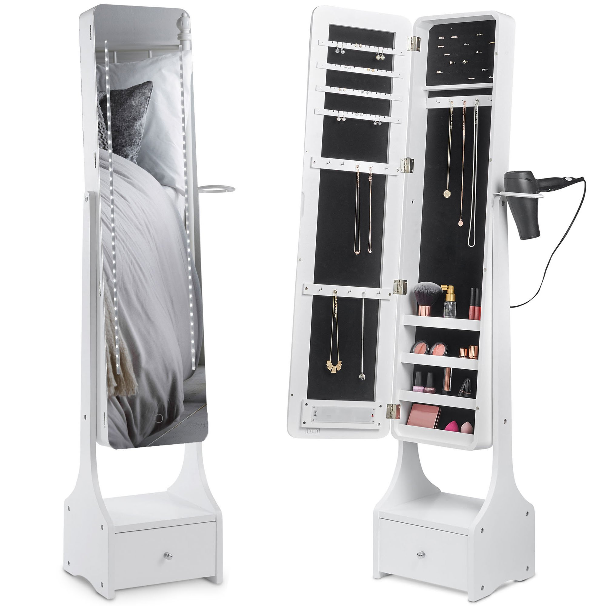 Beautify Touch screen LED Jewelry Cabinet Armoire Illuminating Mirrored Light Standing Organizer with Mirror, Makeup Storage and Drawer - White
