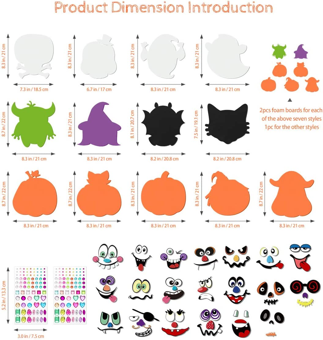 Halloween Crafts Kit for Kids, Foam DIY Pumpkin Decorating Stickers for Halloween Games