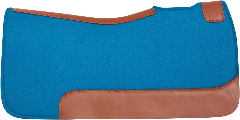 Pro SeriesターコイズフェルトブラウンTooled Leather Western Pleasure Trail Therapeutic厚いウールジェル注入サドルパッド ブルー