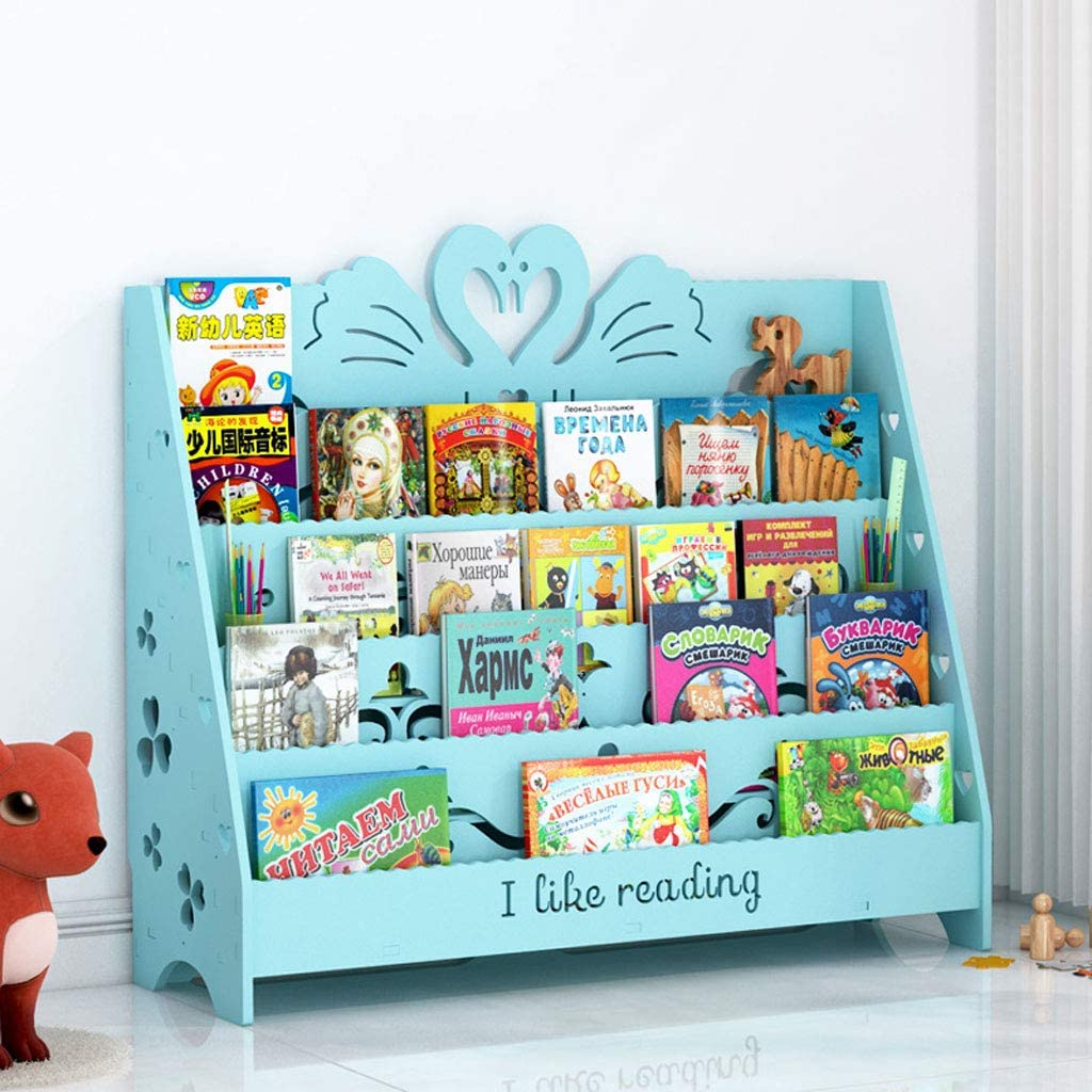 PLL Blue Swan Modeling Cartoon Carved Childrens Picture Book Shelf Living Room Floor Corner Book Display Stand School Reading Bookshelf Size : S