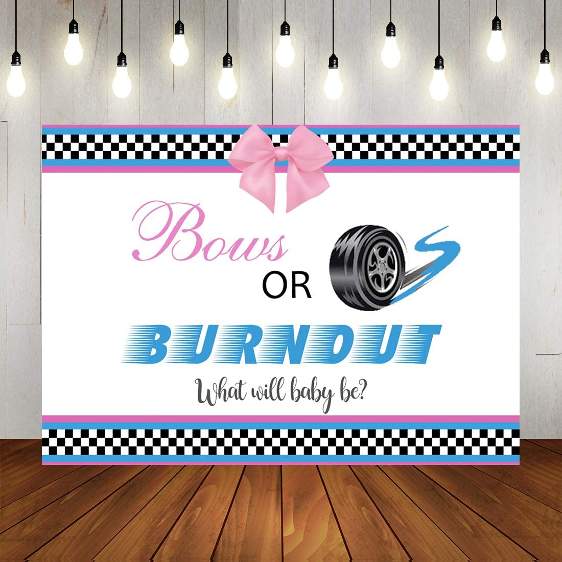 Burnouts or Bows Gender Reveal Photo Backdrop Blue Car or Pink Bowknot What Will Baby Be Baby Shower Background Boy or Girl Party Decorations
