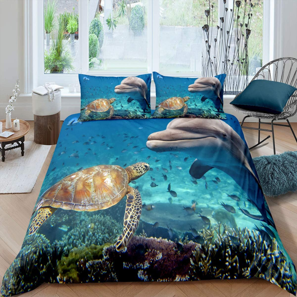 Erosebridal Tortoise Fitted Sheet Deep Pocket for Kids Boys Girls Sea Turtle Bedding Set Ocean Life Animal Sheet Set Full Size Underwater Oasis Bottom Sheet for Teens Adult Grey with 2 Pillow Cases