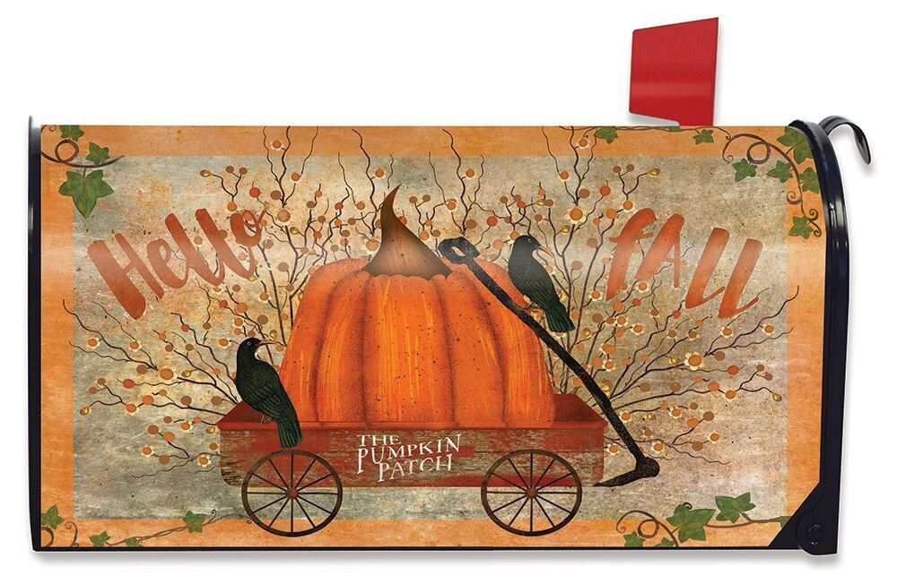 Briarwood Lane Prized Pumpkin Fall Magnetic Mailbox Cover Primitive Autumn Wagon Standard
