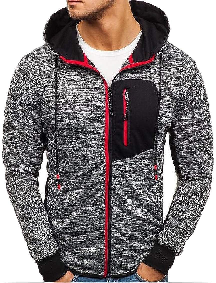 Hajotrawa Mens Burnout Long Sleeve Hoodie Sports Zip Up Sweatshirts Jacket
