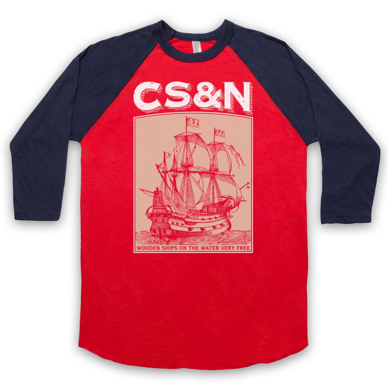 Inspired by Crosby Stills & Nash Wooden Ships Unofficial 3/4 Sleeve Retro Baseball Tee