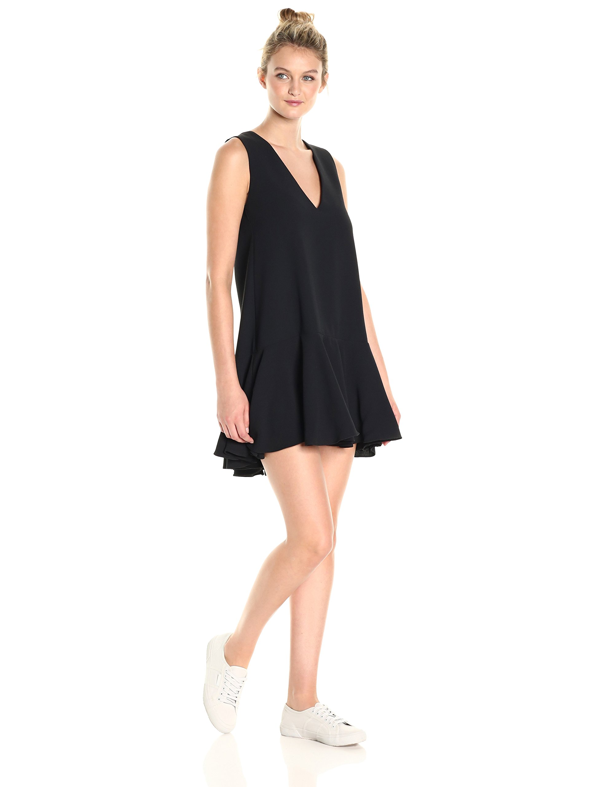 French Connection Women's ARO Crepe Fluted Dress, Black, 0