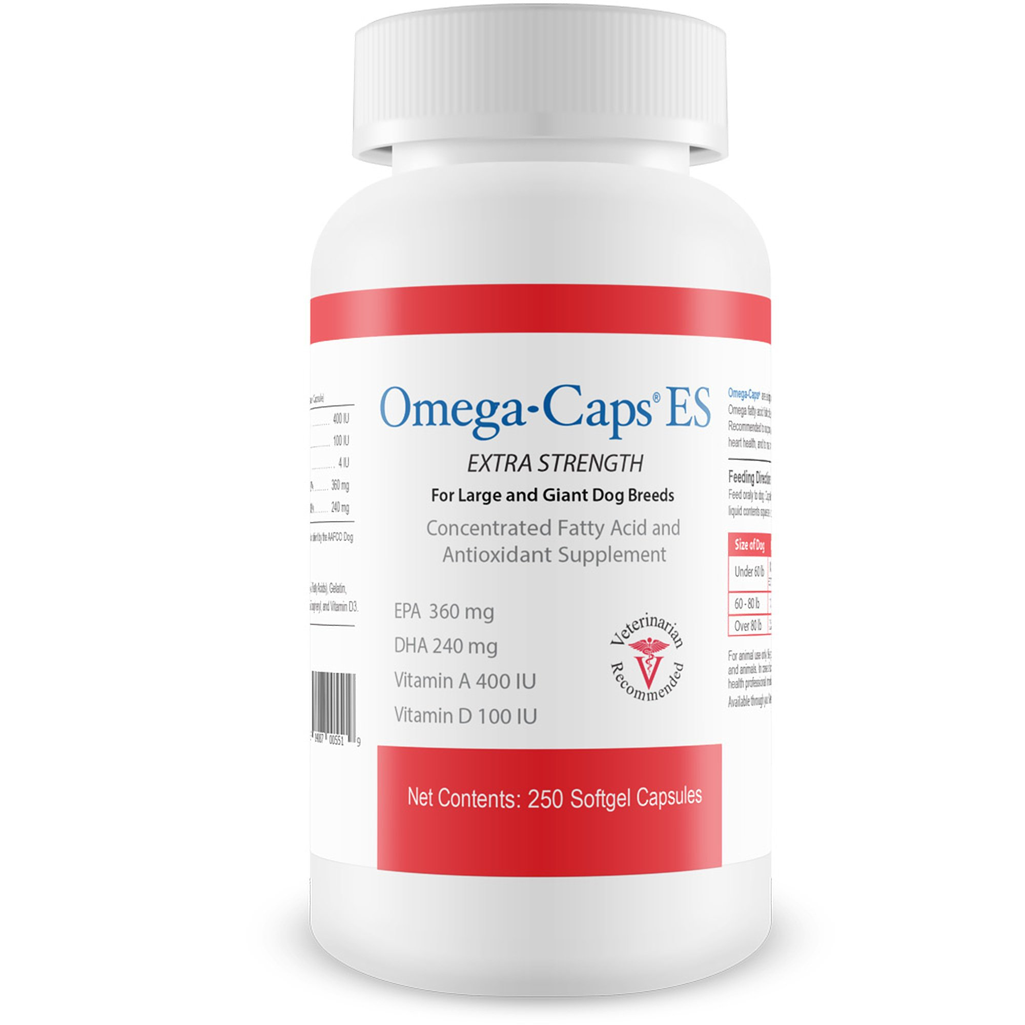 Pet Health Solutions Omega-Caps ES Large & Giant Dogs - Omega 3, Vitamins, Minerals, Antioxidants - Support Immune System, Joints, Heart Brain - 250 Softgel Capsules