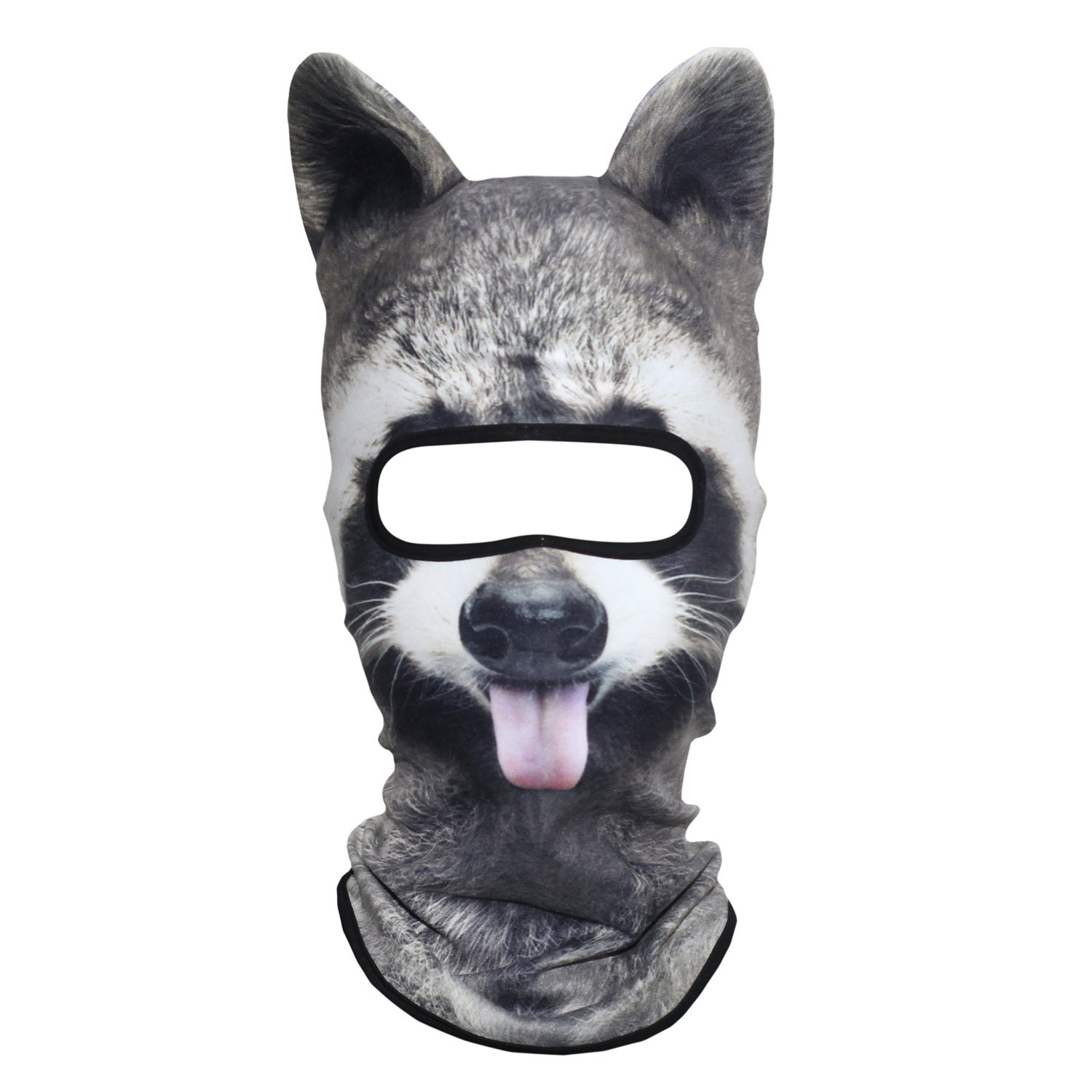 JIUSY 3D Animal Ears Fleece Thermal Hood Balaclava Neck Warmer Face Mask for Cold Weather Winter Outdoor Sport Motorcycle Cycling Riding Hunting Ski Snowboard Halloween Party Funny Raccoon MDD-17