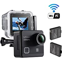 Nexgagdet 14MP 1080P WiFi Waterproof Sports Action Camera with 2 Pcs Rechargeable Batteries