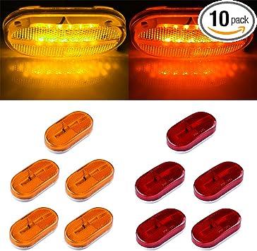 4 x 2 6 Led Side Marker Lights surface Mount Trailer Clearance,Sealed,Removable Lens RV Trailer Truck Camper LED Marker Lights LTPAG 14pc red+amber