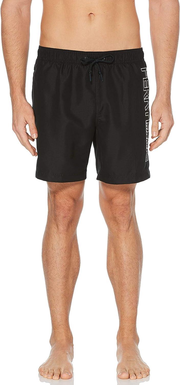 Perry Ellis Men's Printed Water Resistant Perry Logo Swim Shorts