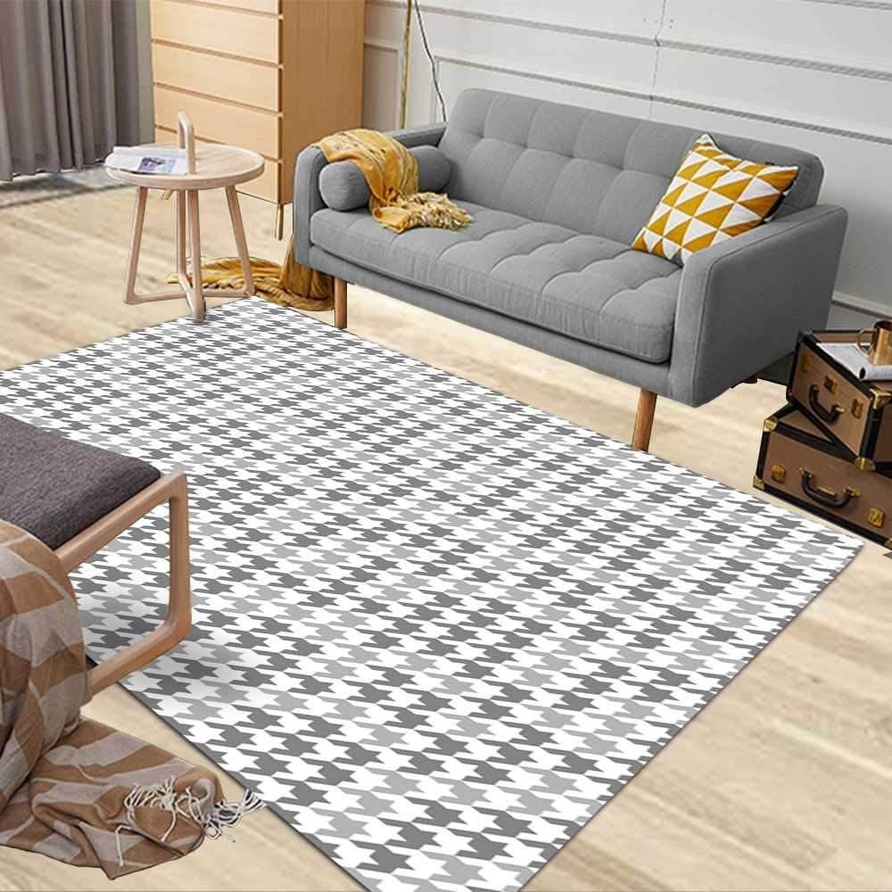 5X7 Soft Area Rug, Musesh Farmhouse Area Rug Kitchen Area Rug Contemporary Area Rugs Area Rug Placement in Living Room Decoration Office Dorm Hounds Tooth Fashion Pattern in Grey Tile Fabric