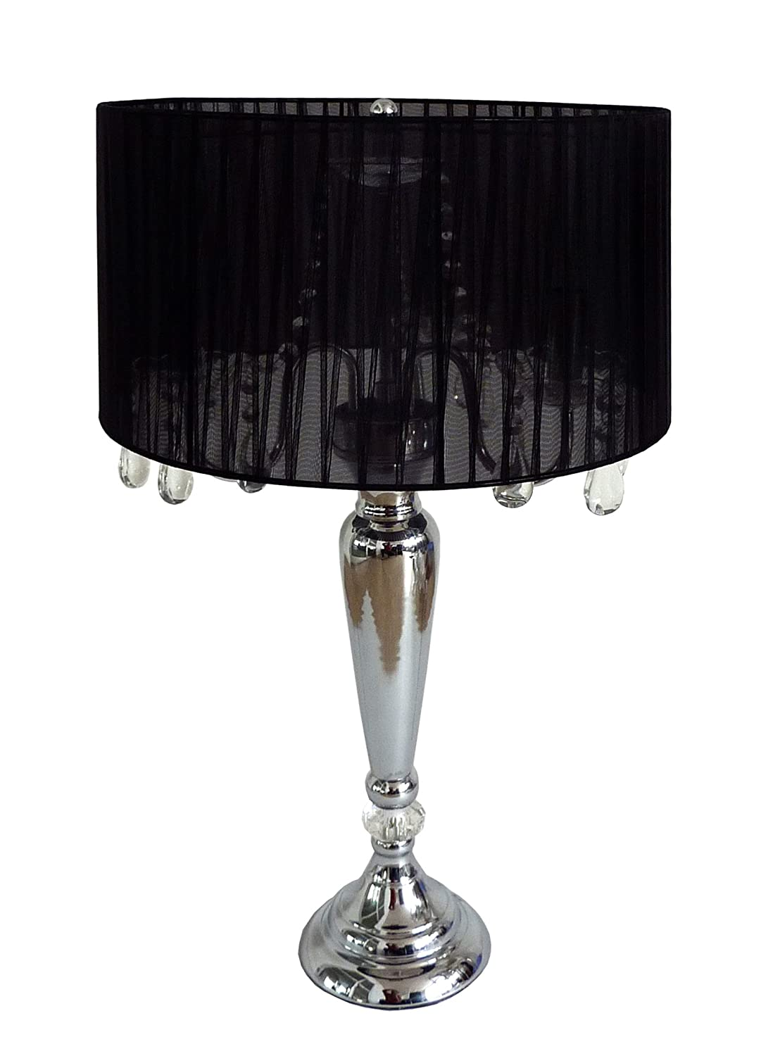 Elegant Designs LT1034 BLK Trendy Sheer Table Lamp With Hanging Crystals  And Sheer Shade, Black     Amazon.com