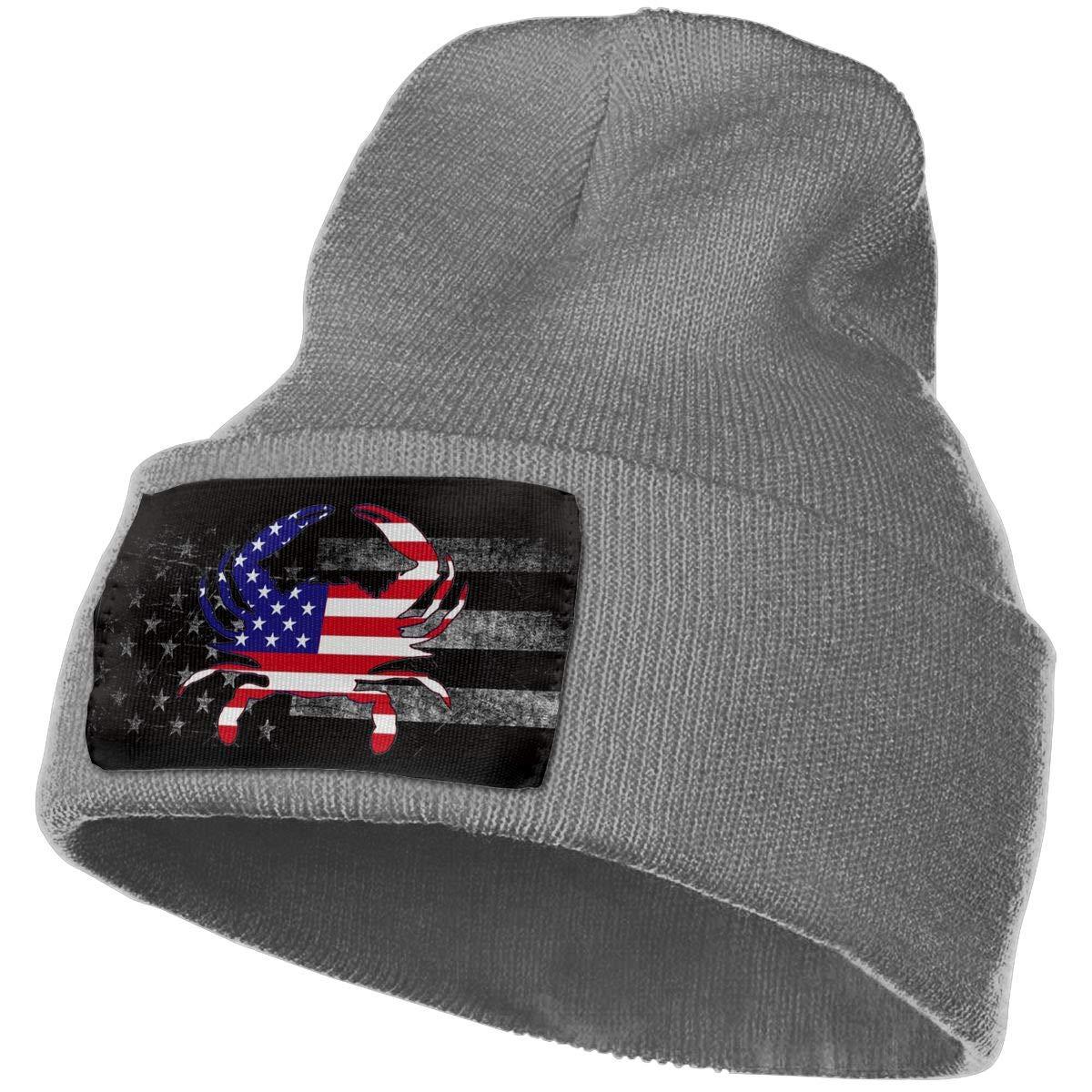 FORDSAN CP America Flag Crab Mens Beanie Cap Skull Cap Winter Warm Knitting Hats.