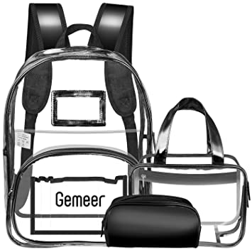 8c8c01408c1b Gemeer 3 in 1 Clear Backpack with Cosmetic Bag   Case - Transparent PVC  Backpack with