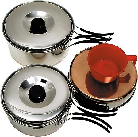 Fox Outdoor - Batería de Cocina Grande de Acero Inoxidable para Camping (2 cazos, 1 sartén, y 2 Tazas de plástico), Color Plateado