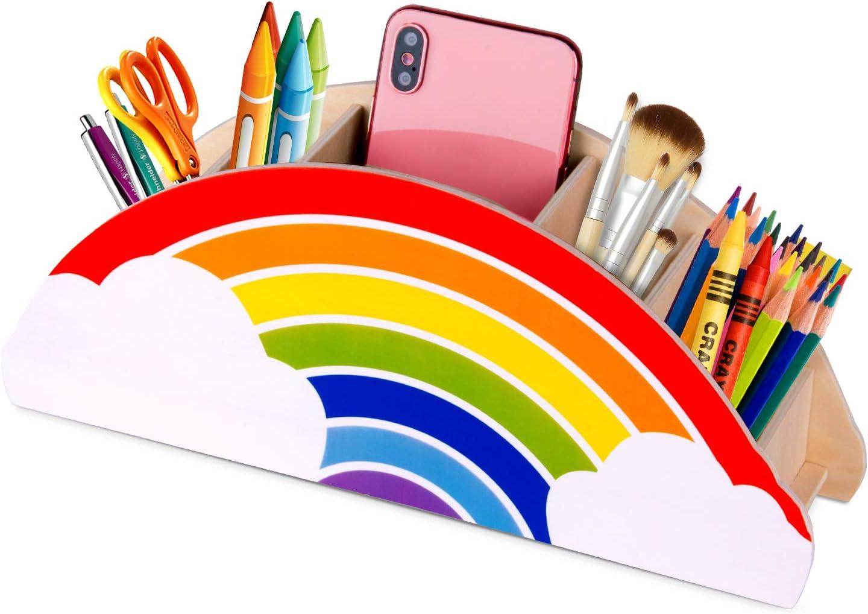 Gamenote Wooden Pen Holder & Pencil Holders - Rainbow Supply Caddy Phone Holder Desk Organizer for Office Supplies Makeup Brush Classroom Organization for Women & Kids: Home Improvement