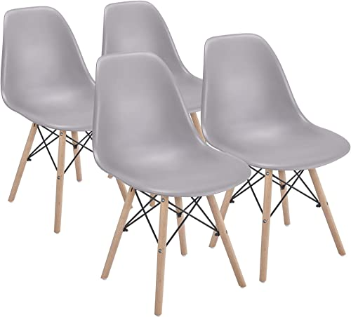 YAHEETECH 4PCS Dining Chairs Pre Assembled Modern Style Chair Armless Side Chair Shell Eiffel DSW Chair