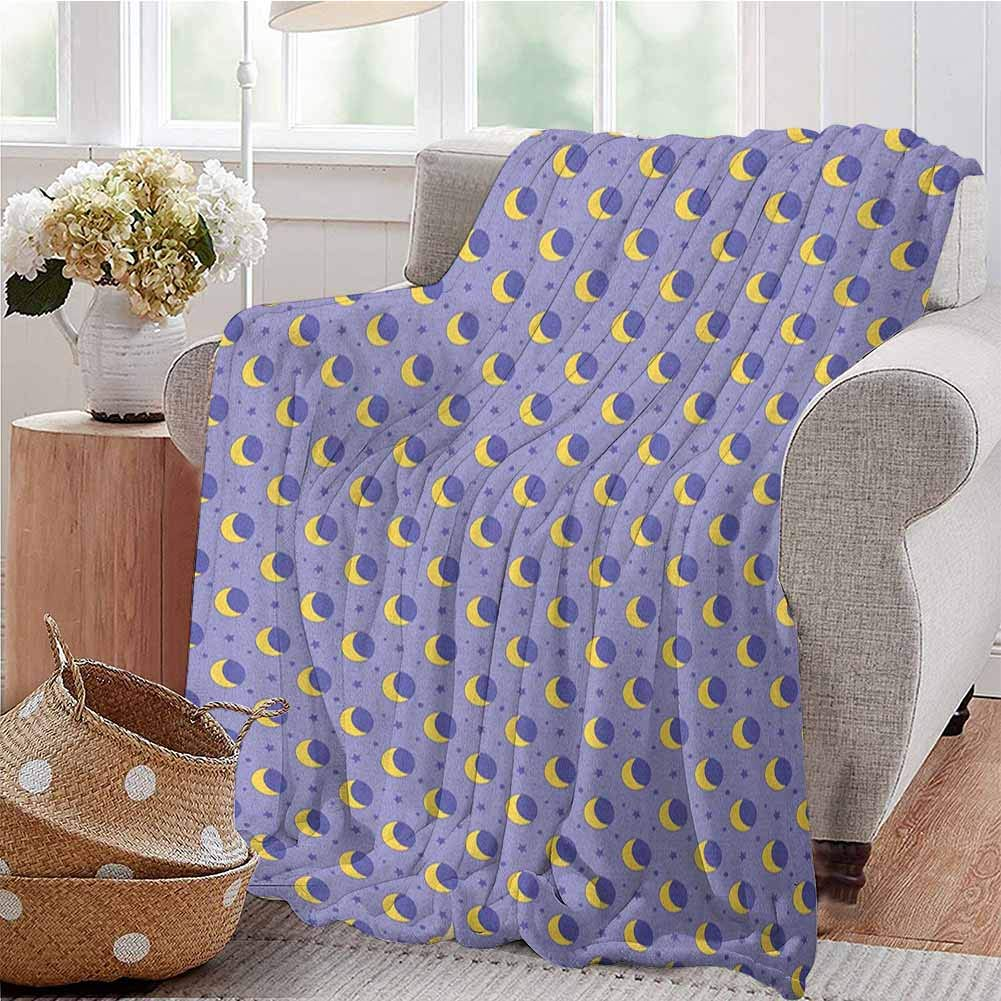 Luoiaax Moon Bedding Microfiber Blanket Childish Kids Pattern with Moon Stars Dots Cartoon Style Night Sky for Toddler Super Soft and Comfortable Luxury Bed Blanket W80 x L60 Inch Lavender Yellow by Luoiaax