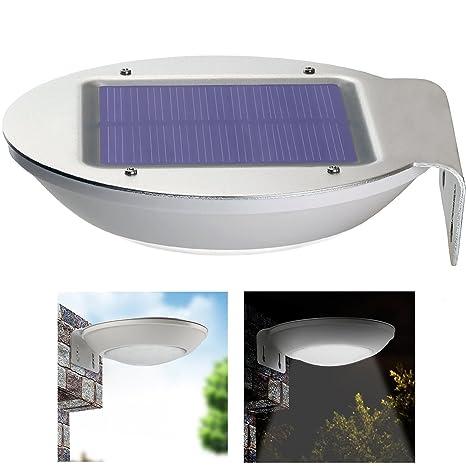 qiteco Luz LED de aluminio, Solar, para exterior, con sensor de movimiento,