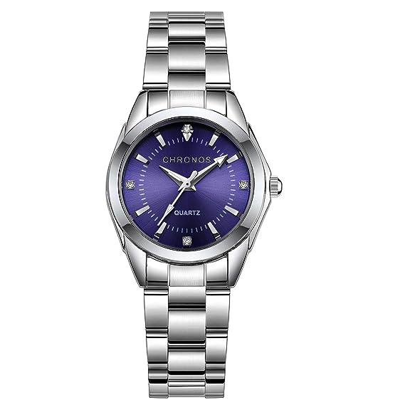 23a6a55c1a275 Chronos Women Silver Stainless Steel Quartz Waterproof Watch Blue Analog  Dial Lady Girls Rhinetone Luxury Business