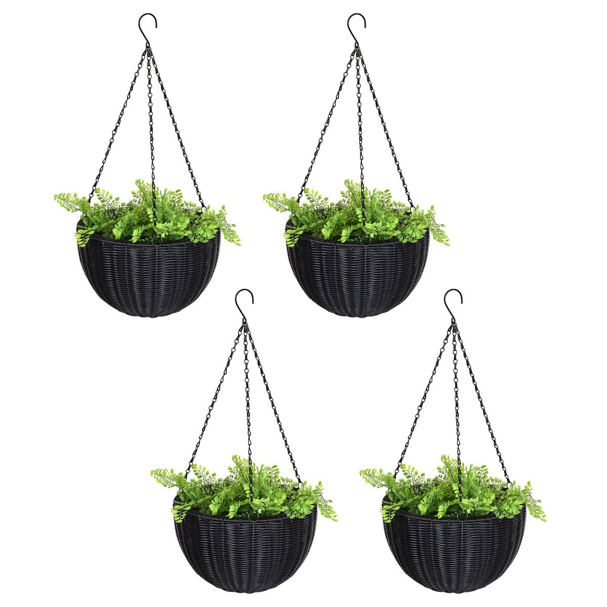 4 PCS 13.8'' Round PE Rattan Garden Plant Hanging Planters Decor Pots New by Happybeamy
