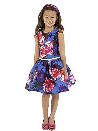 63aa1d065c8 Kid s Dream Big Girls Royal Blue Floral Print Mikado Junior Bridesmaid  Dress 8