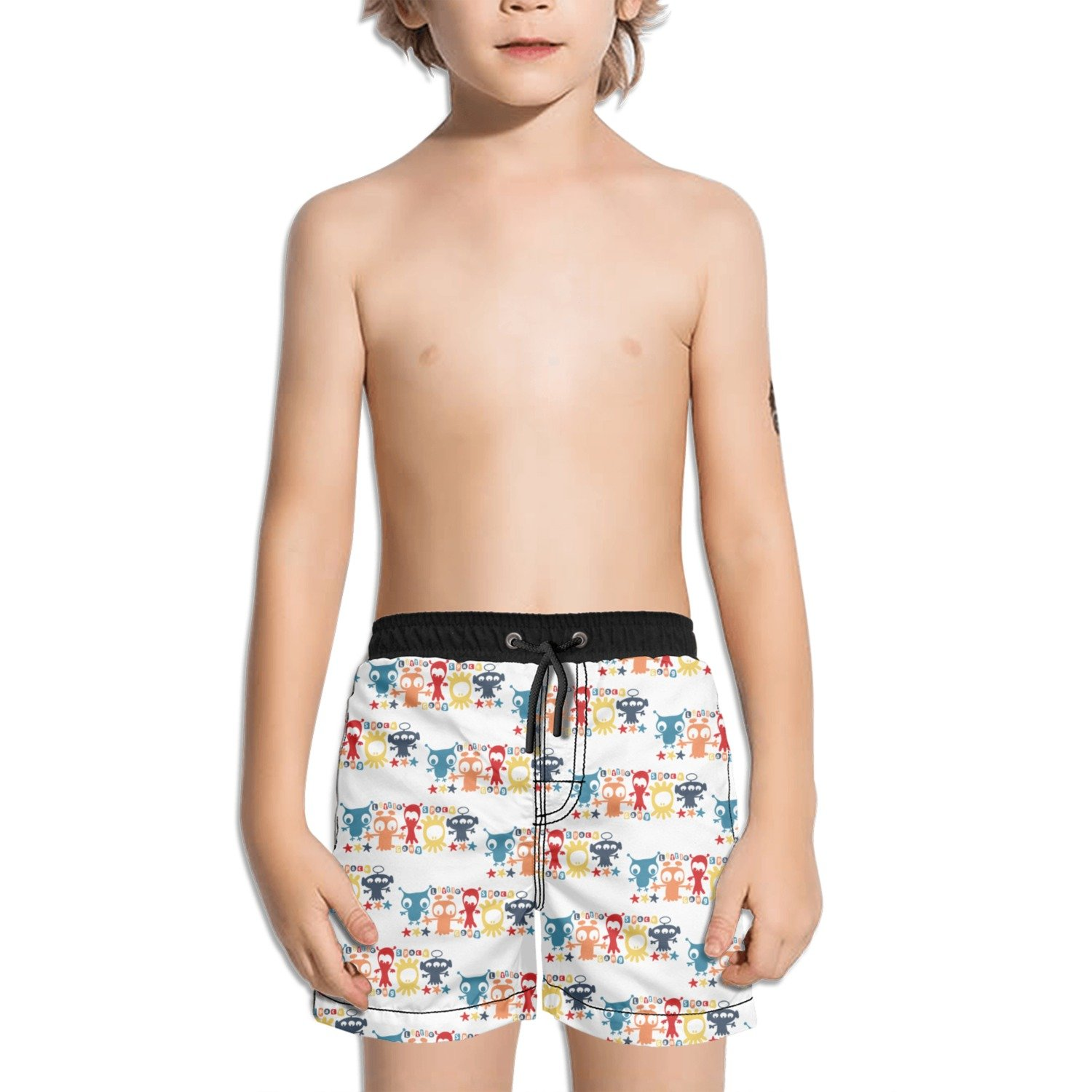 Trum Namii Boy's Quick Dry Swim Trunks Aliens Play in The Universe Shorts