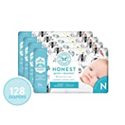 The Honest Company Diapers - Newborn Diapers, Size 0 - Space Travel Print   TrueAbsorb Technology   Plant-Derived Materials   Hypoallergenic   128 Count