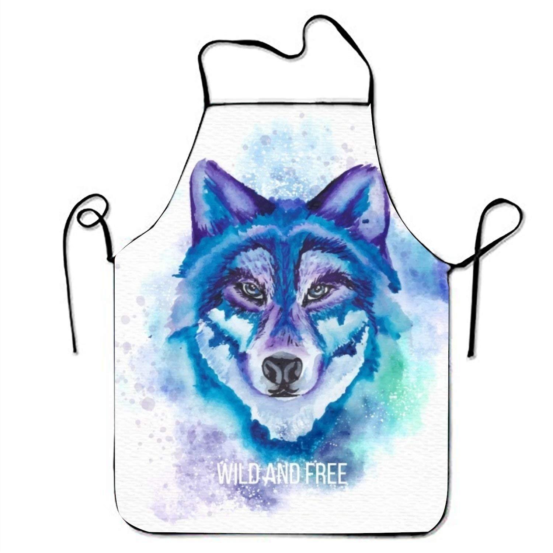 水彩Wild Wolf ' s Faceキッチン料理エプロン女性と男性用調節可能なネックストラップレストランホームキッチンエプロンBib for、料理BBQ   B07FTJ8P9R