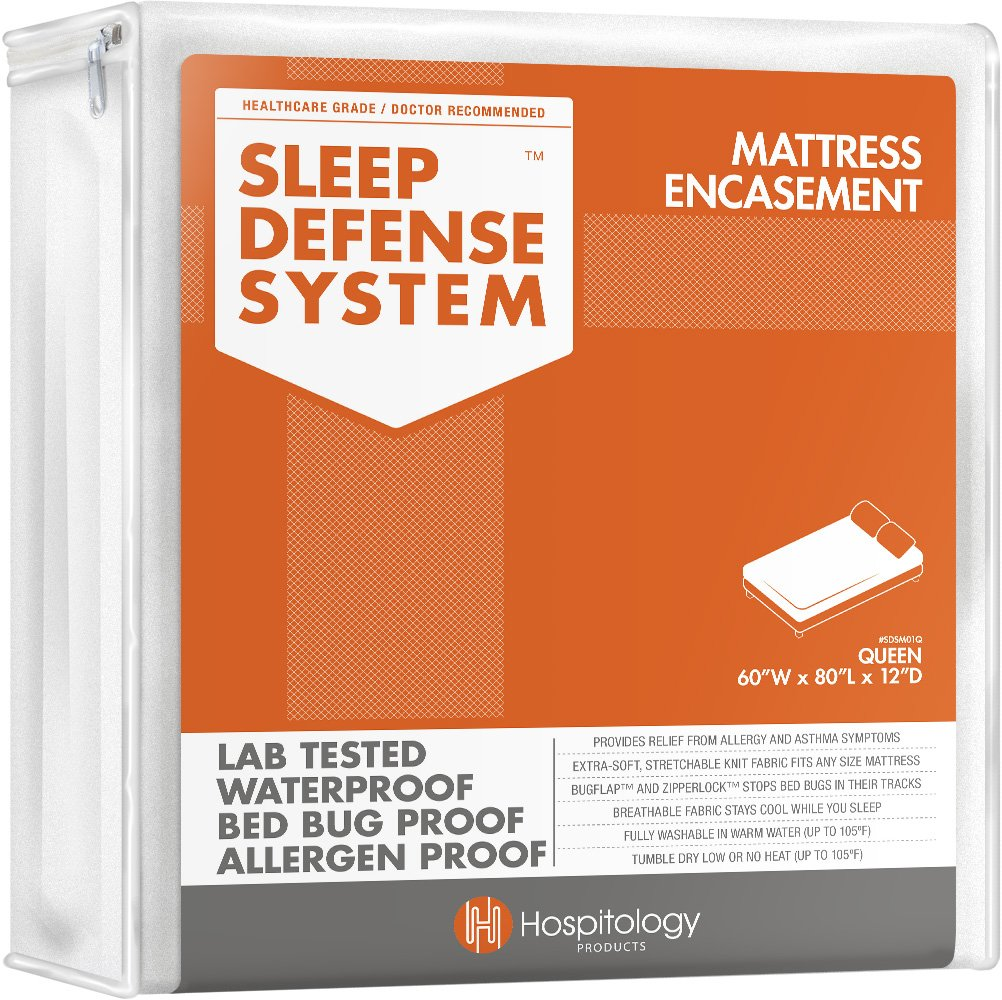 HOSPITOLOGY PRODUCTS Sleep Defense System - Waterproof/Bed Bug/Dust Mites - PREMIUM Zippered Mattress Encasement & Hypoallergenic Protector - 60-Inch 80-Inch, Queen - Standard 12''