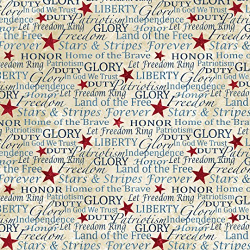 Patriotic Text, Parchment, Stonehenge, Land of Free, Northcott, Quilts of Valor, Northcott, 39195-30, By the - Fabric Quilt Patriotic