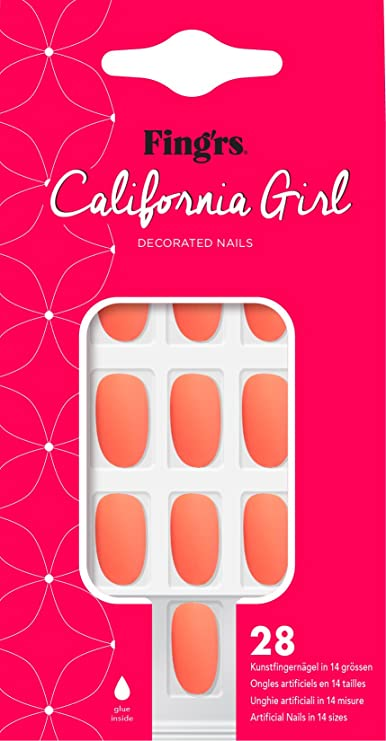 Fing RS California Girl Nails - Matte Coral, 28 unidades): Amazon ...